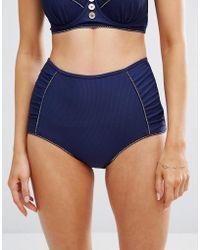 Floozie - Navy High Waist Bikini Bottom - Lyst