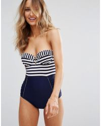 Floozie - Stripe Block Swimsuit A-e Cup - Lyst