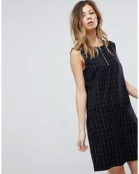 Pieces - Check Midi Shift Dress With Zip In Navy - Lyst