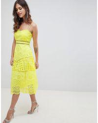ASOS - Design Premium Lace Broderie Prom Midi Dress - Lyst