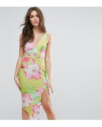 Ginger Fizz - Plunge Midi Dress In Citrus Floral - Lyst