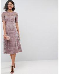 ASOS - Premium Occasion Lace Midi Dress - Lyst