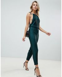 PrettyLittleThing - Open Back Culotte Jumpsuit In Green - Lyst