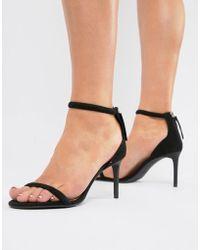 Bershka - Barely There Skinny Sandal In Black - Lyst