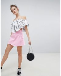 Bershka - Denim Skirt In Pink - Lyst