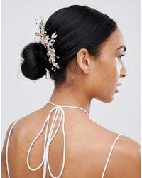 LoveRocks London - Rose Gold Leaf Floral Hair Comb - Lyst