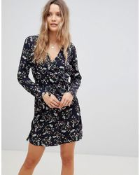Lavand - Abstract Floral Skater Dress With Fluted Sleeve - Lyst