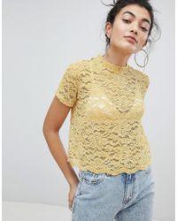 Bershka - Lace Print Top In Yellow - Lyst