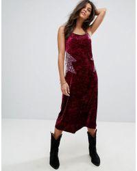 Anna Sui - Crushed Velvet Starburst Slip Dress - Lyst