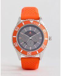 ASOS - Oversized Rubberised Watch In Orange With Contrast Bezel - Lyst