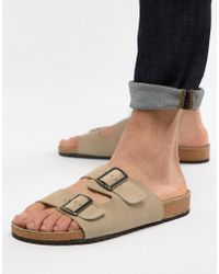 ASOS - Design Sandals In Stone Suede With Buckle - Lyst