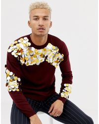 ASOS - Knitted Sequin Sweater In Burgundy - Lyst