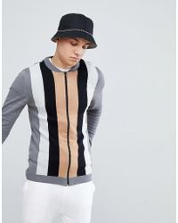ASOS - Muscle Fit Knitted Bomber Jacket With Vertical Stripe In Grey - Lyst
