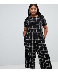 ASOS - Asos Design Curve Check Print Jumpsuit With Short Sleeve - Lyst