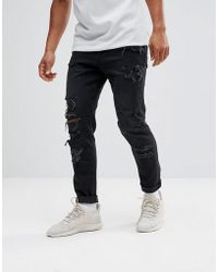 ASOS - Tapered Jeans In 12.5oz In Washed Black With Heavy Rips - Lyst