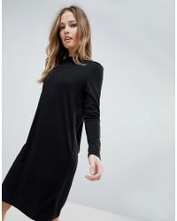3a5e0c0469 Vila High Neck Long Sleeve Dress in Black - Lyst