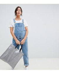 2e16026929cbb Boohoo Maternity Ultra Ripped Dark Wash Dungaree in Blue - Lyst