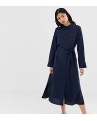 fe73219c57f6 Monki - Utility Midi Shirt Dress In Navy - Lyst