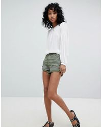 One Teaspoon - Bandits Highwaisted Short With Roll Hem - Lyst