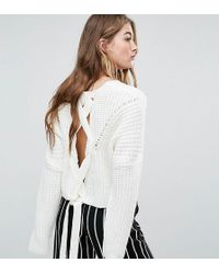 Missguided - Lace Up Back Jumper - Lyst