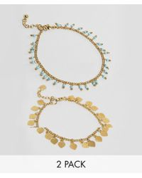 ASOS - Design Pack Of 2 Petal Disc And Bead Anklets - Lyst