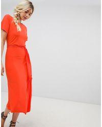 Warehouse - Tie Detail Midi Dress In Orange - Lyst
