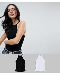 ASOS DESIGN - Cami With Square Neck In Fitted Rib 2 Pack Save - Lyst