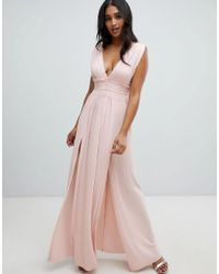8f5ba62b7e05 ASOS Pleated Paneled Cami Maxi Dress With Lace Inserts in Pink - Lyst