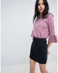 Soaked In Luxury - Stripe Top With Fluted Sleeves - Lyst