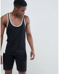 ASOS - Design Vest With Extreme Racer Back And Contrast Panels In Black - Lyst