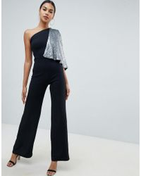 Club L - One Shoulder Jumpsuit With Sequin Cape Sleeve - Lyst
