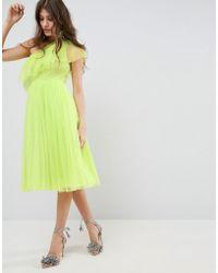 ASOS - Tulle One Shoulder Midi Dress - Lyst