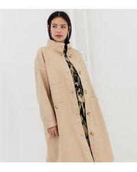 Monki - Midi Lightweight Coat With Oversized Pockets In Beige - Lyst