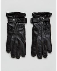 Paul Costelloe - Strap Leather Gloves In Brown - Lyst