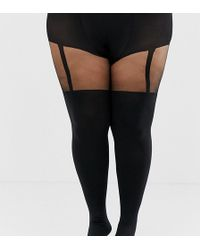402f8402a1c Pretty Polly Shape It Up Tummy Suspender Tights in Black - Lyst