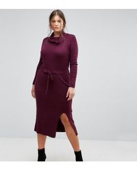 Simply Be - Knitted Dress With Tie Waist - Lyst