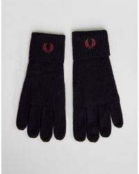 Fred Perry - Logo Merino Wool Gloves Navy - Lyst