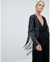 Forever Unique - Tassel Fringing Pu Jacket - Lyst