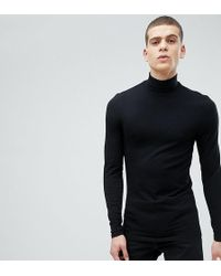 ASOS - Design Tall Muscle Fit Long Sleeve T-shirt With Roll Neck - Lyst