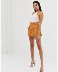 PrettyLittleThing - Button Detail Shorts In Camel - Lyst