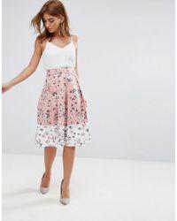 Vesper - Midi Skirt In Floral Print With Contrast Border - Lyst
