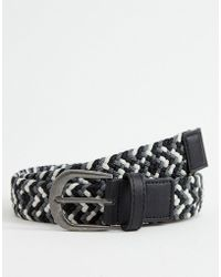 ASOS - Woven Slim Belt In Black White And Grey - Lyst