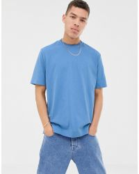 ASOS - Loose Fit T-shirt In Dusky Blue Soft Cotton With Double Neck Rib - Lyst