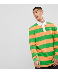 PUMA - Striped Rugby Shirt In Orange Exclusive To Asos - Lyst