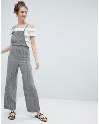 Monki - Dogtooth Dungarees - Lyst