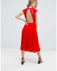 Elise Ryan - Open Back Skater Dress With Pleated Skirt - Lyst