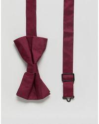 ASOS - Design Silk Bow Tie In Burgundy - Lyst