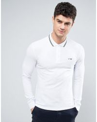 Armani Jeans - Long Sleeve Pique Polo Slim Fit Tipped In White - Lyst