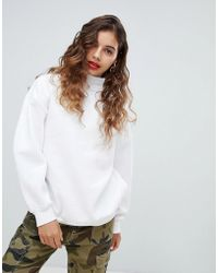 Bershka - High Neck Oversized Sweater In White - Lyst