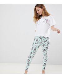 7a9e453319cd1 ASOS Mermaid Shell Tee & Short Pajama Set in Blue - Lyst